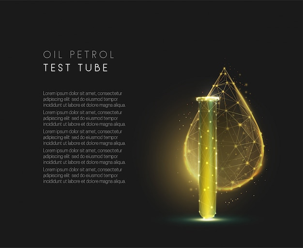 Oil petol test tube. cmemistry flask and falling drop. low poly style design. blue geometric background. wireframe light connection structure. modern  graphic concept. isolated