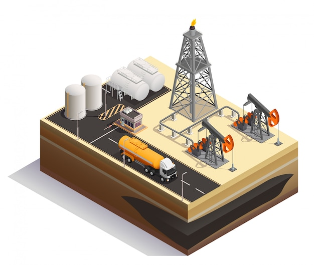 Oil petroleum extraction transportation production industry isometric composition with pump jacks drilling rigs derrick tanks