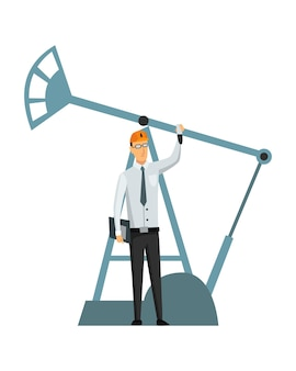 Oil petroleum industry. engineer or oilman in professional work process isolated. control extraction or transportation oil and petrol on flat cartoon icon. isolated vector illustration