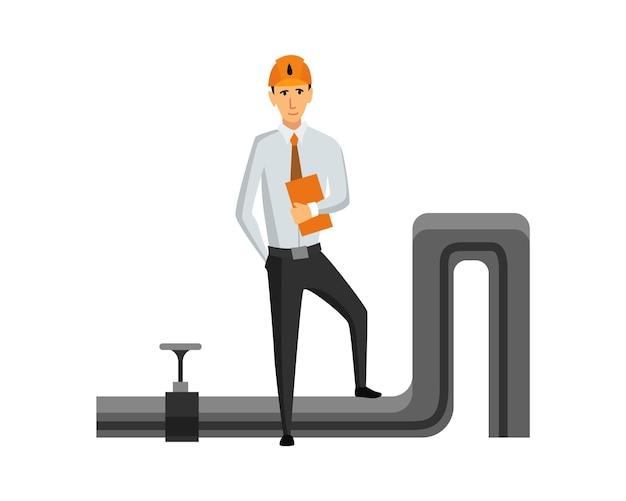 石油石油産業。孤立したプロの作業プロセスのエンジニアまたは石油会社。平らな漫画のアイコンで抽出または輸送の石油とガソリンを制御します。孤立したベクトル図