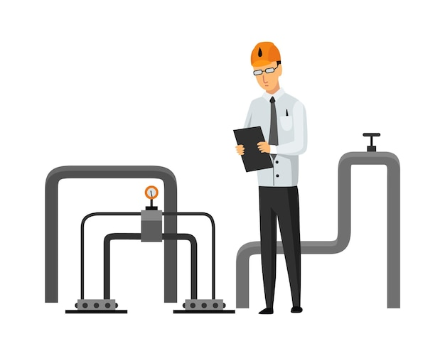 석유 석유 산업. 엔지니어 또는 오일맨이 격리된 전문 문서를 찾고 있습니다. 플랫 만화 아이콘에서 추출 또는 운송 오일과 휘발유를 제어합니다. 격리 된 벡터 일러스트 레이 션.