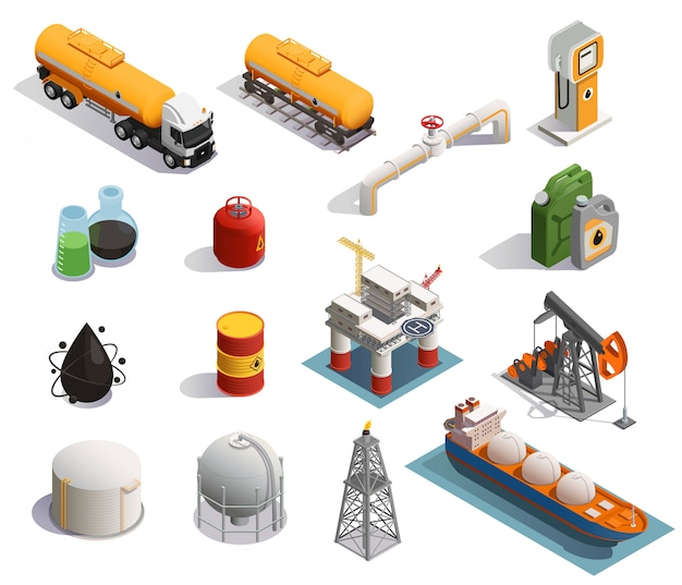 Oil petroleum industry isometric icons set with extraction refinery plant products transportation tanker pipeline