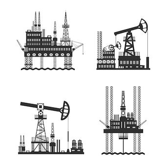 Нефтяная нефтяная платформа черно-белая