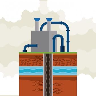 Oil and petroleum pump round icon