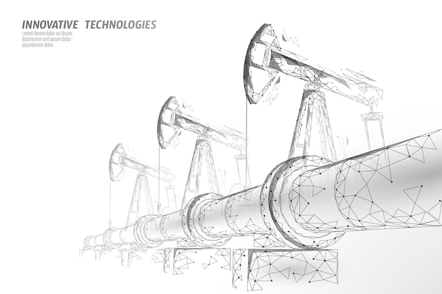 Oil pipeline low poly business concept. finance economy polygonal petrol production. petroleum fuel industry transportation line connection dots white illustration