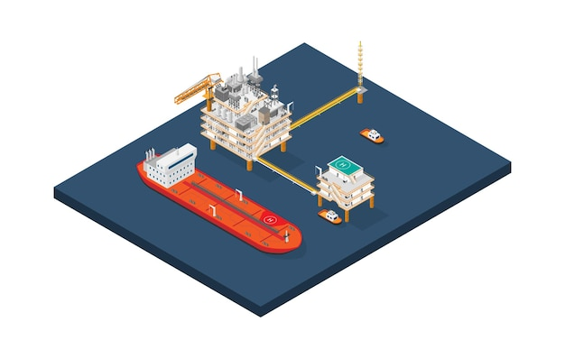 An oil platform offshore platform or offshore drilling rig with isometric style