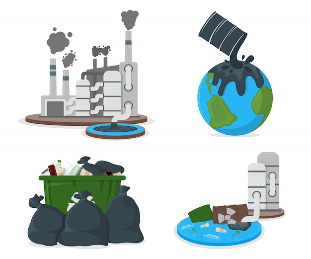 Oil pollution concept icon. earth pollution by petroleum and co2. factory catastrophe cartoon  illustration