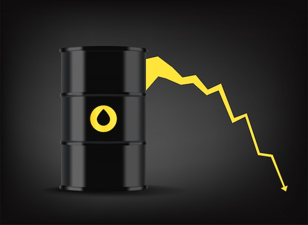 Oil price graphic. black metal barrel with oil