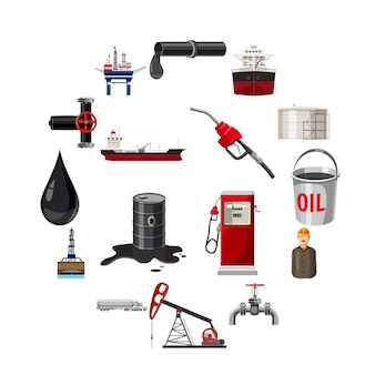 Oil production icons set, cartoon style