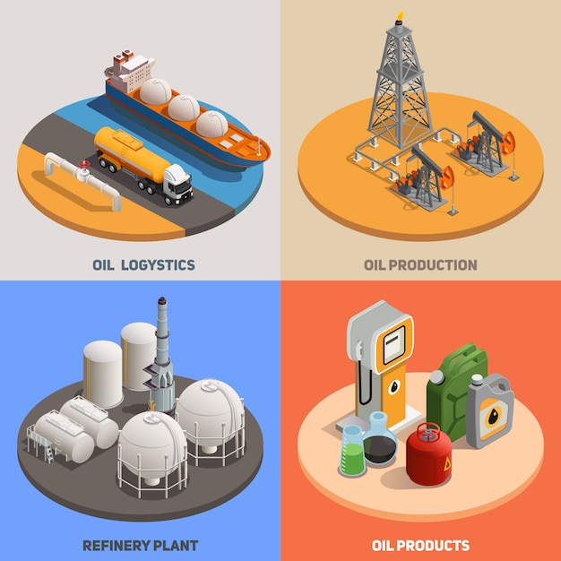 Oil production logistics refinery plant 4 isometric colorful background icons square petroleum industry concept