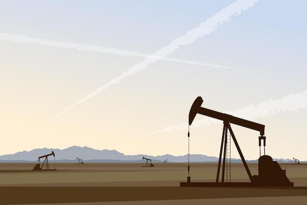 미국 사막 산업 풍경 벡터 일러스트 레이 션의 오일 펌프 유전 광업 및 드릴링