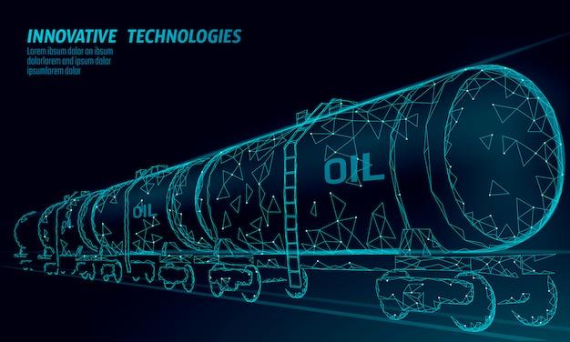 Oil railway cistern 3d render low poly. fuel petroleum finance industry diesel tank. cylinder railroad wagon train gasoline logistic economical business polygonal line vector illustration