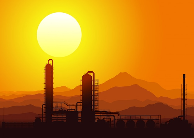 日没時の石油精製所