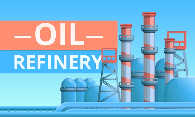 Oil refinery concept illustration, cartoon style