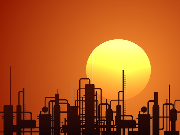 Oil refinery construction ector background