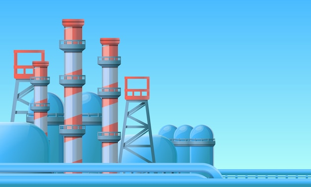 Oil refinery illustration cartoon style