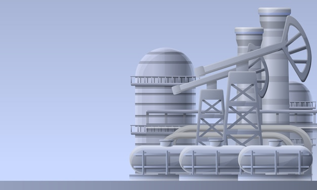 Oil refinery plant illustration, cartoon style
