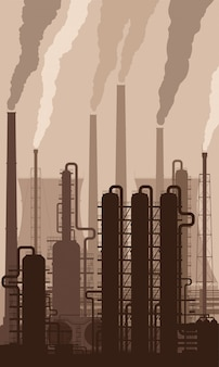 Oil refinery silhouette with smoking chimneys