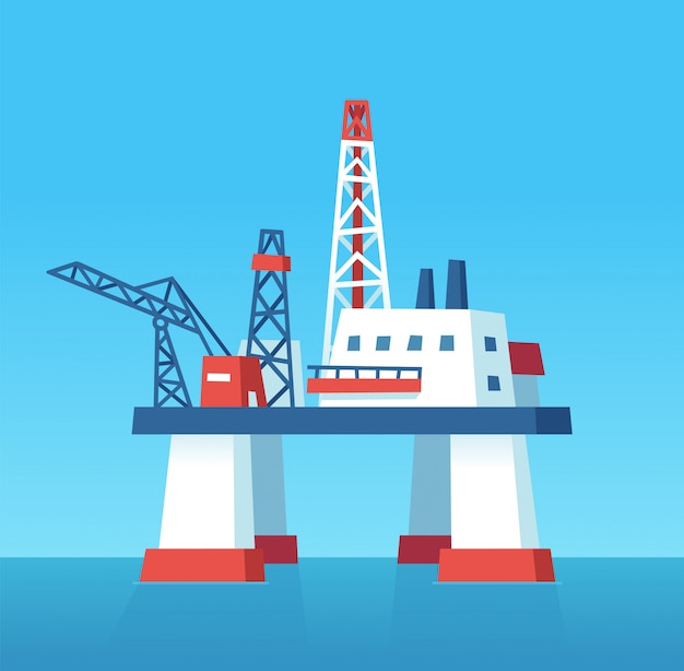 Oil rig cartoon illustration