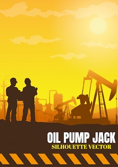 Oil rig industry silhouettes background,  illustration.