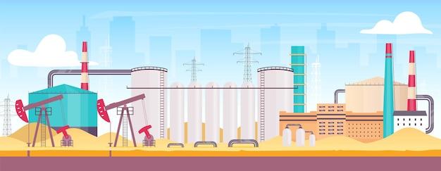 도시 평면 색상 근처 석유 장비. 산업 정유 공장 배경에 도시와 2d 만화 풍경. 화석 연료 추출을위한 육상 제조 시설