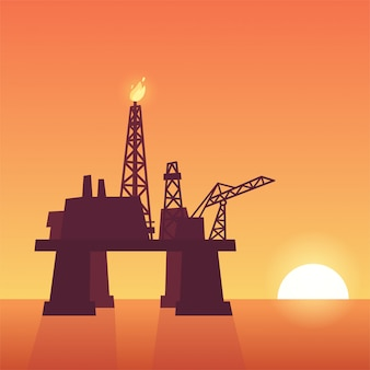 Oil rig on sunset