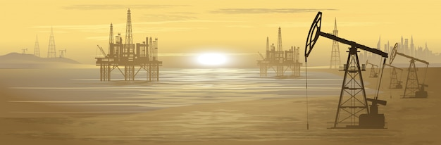 Oil rigs. oil production. illustration