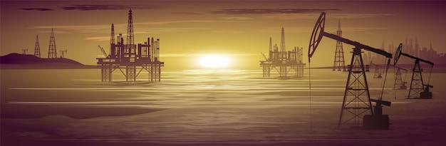 Нефтяные вышки. добыча нефти. иллюстрация.