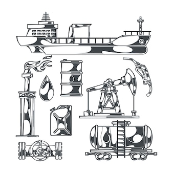 Oil set of isolated monochrome images with drilling rigs tanker boat and canisters