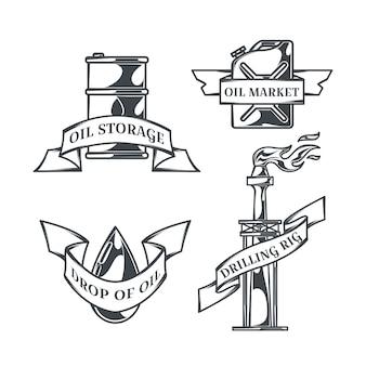 ヴィンテージスタイルの孤立したロゴのオイルセット