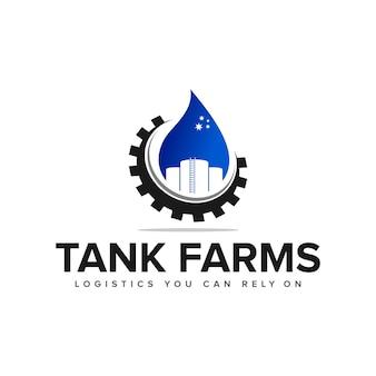 石油タンクファームのロゴのインスピレーションベクトルの構築
