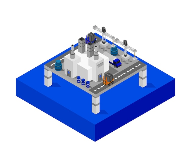 Oil tanker tower on the sea isometric