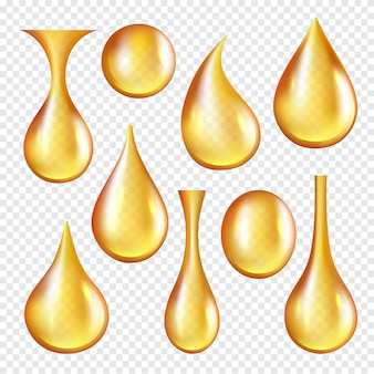 Oil transparent drops. yellow liquid golden oil  realistic collection of splashes