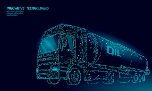Oil truck highway cistern 3d render low poly. fuel petroleum finance industry diesel tank. cylinder vehicle big cargo gasoline logistic economical business polygonal line vector illustration