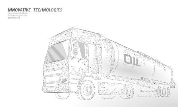 Oil truck highway cistern 3d render low poly. fuel petroleum finance industry diesel tank. cylinder vehicle big cargo gasoline logistic economical business polygonal line vector illustration