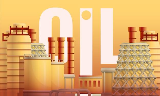 Oil urban refinery concept illustration, cartoon style