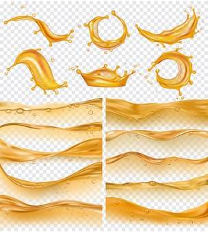 Oil waves. realistic golden liquid surface of oil petrol flow drops and splashes fuel collection