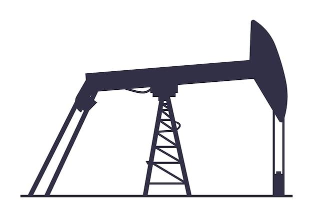 유정 아이콘 가솔린 추출 시설 실루엣 에너지 생성 산업 개념