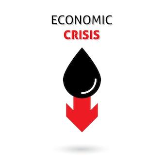 収益のバレル価格の下落と世界的な経済危機の赤いジグザグの下降傾向を持つ石油