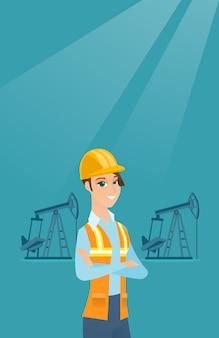 Oil worker vector illustration.