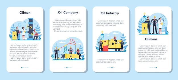 Oilman 및 석유 산업 모바일 응용 프로그램 배너 세트. 지구의 장에서 원유를 추출하는 펌프 잭. 석유 생산 및 사업.
