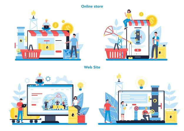 Набор онлайн-сервисов или платформ для нефтяников и нефтяников. насосный домкрат извлекает сырую нефть из недр земли. добыча нефти и бизнес.