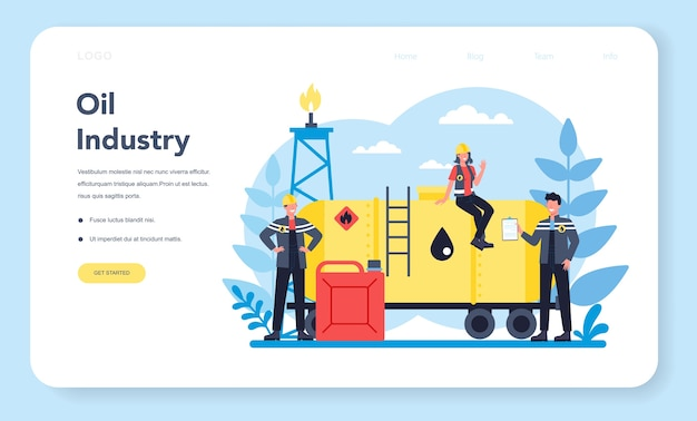 Oilman and petroleum industry web banner or landing page