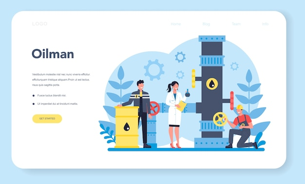 Oilman and petroleum industry web landing page. pump jack extracting crude oil from the bowels of the earth. oil production and business. isolated flat vector illustration