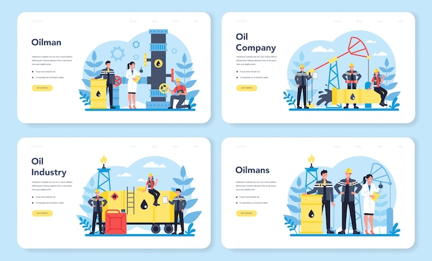 Oilman and petroleum industry web landing page set. pump jack extracting crude oil from the bowels of the earth. oil production and business. isolated flat vector illustration
