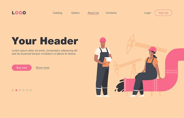 Oilmen and engineers on production line or pipe of petroleum refinery flat  landing page. cartoon people working on pipeline. oil and gas industry concept