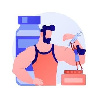Oli iniettati nei muscoli aumentando le dimensioni e cambiando forma. synthol, iniezione, olio per il miglioramento del sito. personaggio dei cartoni animati di bodybuilder. illustrazione della metafora del concetto isolato di vettore