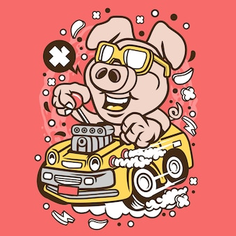 Oink hotrod cartoon