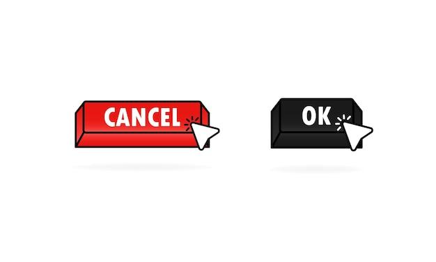 커서, 포인터가 있는 확인 및 취소 버튼. 웹 창 버튼 아이콘입니다. 벡터