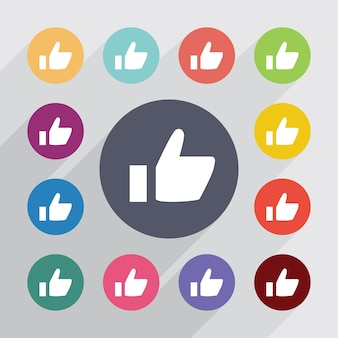 Ok, flat icons set. round colourful buttons. vector